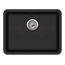 Aquasanita akmens masas virtuves izlietne ARCA 600 Black Metallic 58.5x46 cm