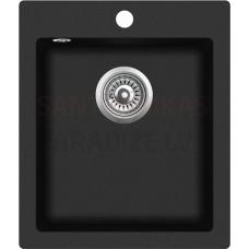 Akmens massas virtuves izlietne PALERMO 42.5x50cm, melna (black granit)