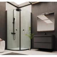 Dušo durys DUSCHY Round Black juoda + skaidrus stiklas 90x200 cm