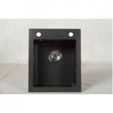 Akmens massas virtuves izlietne RIGO 40.5x48.5cm, melna (black granit)