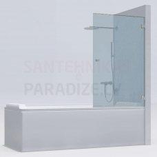 KAME vannas siena MODEL 17 90x140 caurspīdīgs stikls + hroms L/R