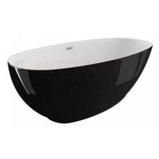 POLIMAT brīvi stāvoša akrila vanna KIVI 165x75 (melna spīdīga) + sifons