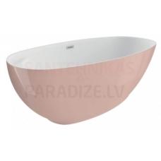 POLIMAT brīvi stāvoša akrila vanna KIVI 165x75 (rozā) + sifons