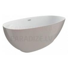 POLIMAT brīvi stāvoša akrila vanna KIVI 165x75 (pelēka) + sifons