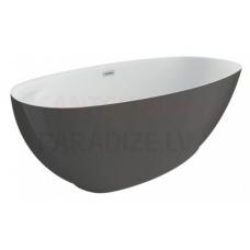 POLIMAT brīvi stāvoša akrila vanna KIVI 165x75 (grafīts) + sifons
