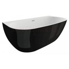 POLIMAT brīvi stāvoša akrila vanna RISA 170x80 (melna spīdīga) + sifons