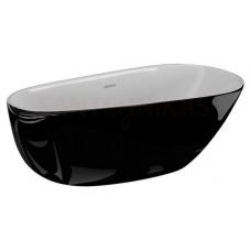POLIMAT brīvi stāvoša akrila vanna SHILA 170x85 (melna spīdīga) + sifons