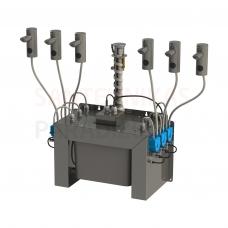 SANELA komplekts no 6 automātiskajiem nerūsējošajiem ziepju dozatoriem uzstādīšanai uz galda virsas, centrālā 6 l ziepju tvertne, 24 V