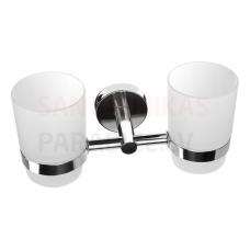 SANELA dubultā glāze ar nerūsējošā tērauda turētāju SLZD 15