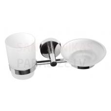 SANELA dubultā nerūsējošā tērauda turētājs ar stikla un ziepju trauku SLZD 17