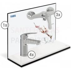TRES BASE PLUS 2 in 1 vairuma komplekts (4x izlietnes jaucējkrāns, 3x dušas)