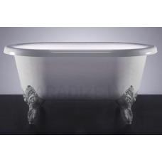 Akmens masas vanna Vispool Lilu ar baltām kājām 800x425x355
