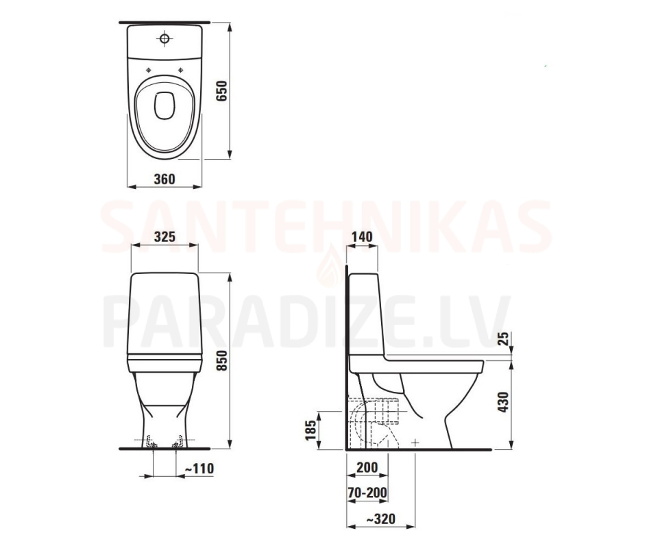 LAUFEN WC toilet KOMPAS Rimless (universal connection) - Santehnikas