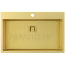 Aquasanita nerūsejošā tērauda virtuves izlietne AIRA AIR100M-G Gold (PVD) finish 790x510x200