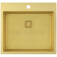 Aquasanita nerūsejošā tērauda virtuves izlietne AIRA AIR100N-G Gold (PVD) finish 550x510x200