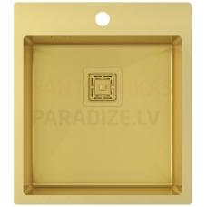 Aquasanita nerūsejošā tērauda virtuves izlietne AIRA AIR100X-G Gold (PVD) finish 510x450x200