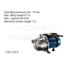Ūdens sūknis bez spiedkatla Pentax U3S 120-6 P1=0,9kW 80l/min