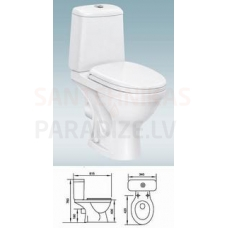 WC klozeta pods AA-2003 P izvads 90° KOMPLEKTĀ AR VĀKU