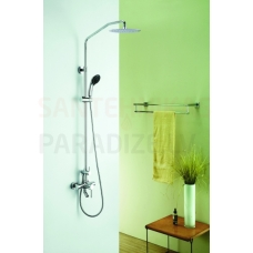 DENVER virsapmetuma dušas komplekts ar rokas dušu, lielo dušas galvu un izteces snīpi