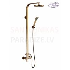 GALA-OLD GOLD AR ORNAMENTIEM virsapmetuma dušas komplekts ar rokas dušu un lielo dušas galvu
