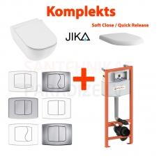 4 in 1 JIKA Mio Rimless pakabinamas tualetas + KK-POL AQUAFIORI Standart WC potinkinis instaliacinis modulis + mygtukas + Soft Close/Quick Release
