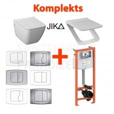 4 in 1 JIKA Pure pakabinamas tualetas + KK-POL AQUAFIORI Standart WC potinkinis instaliacinis modulis + mygtukas + Soft Close