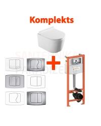 4 в 1 KKPOL Selene подвесной унитаз + туалетная рамка (WC) + кнопка смыва + SC QR крышка